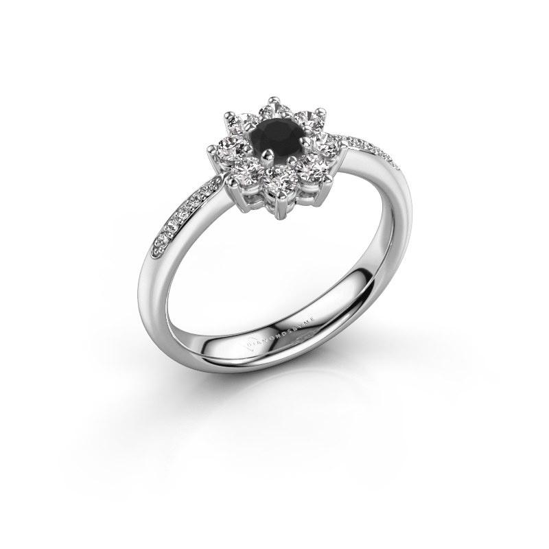 Verlovingsring Camille 2 585 witgoud zwarte diamant 0.18 crt