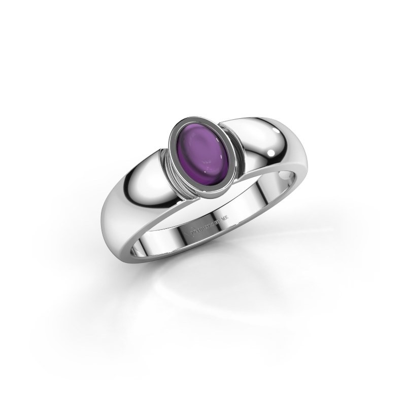 Ring Tonneke 925 silver amethyst 6x4 mm