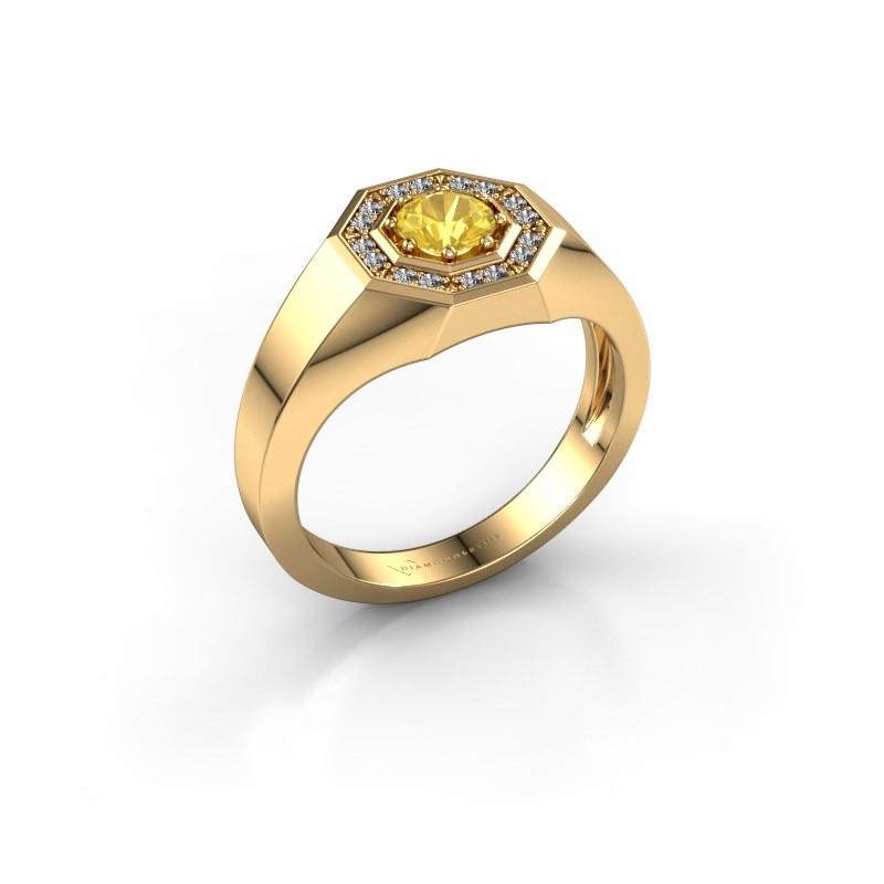 Heren ring Jaap 585 goud gele saffier 5 mm