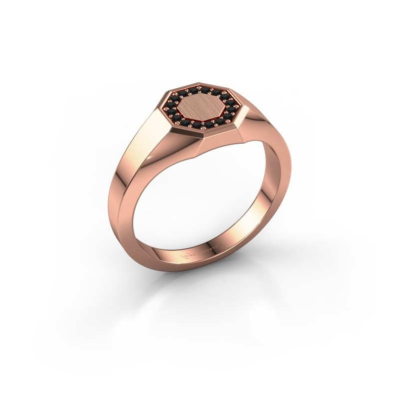 Pinkring Floris Octa 1 375 rosé goud zwarte diamant 0.144 crt