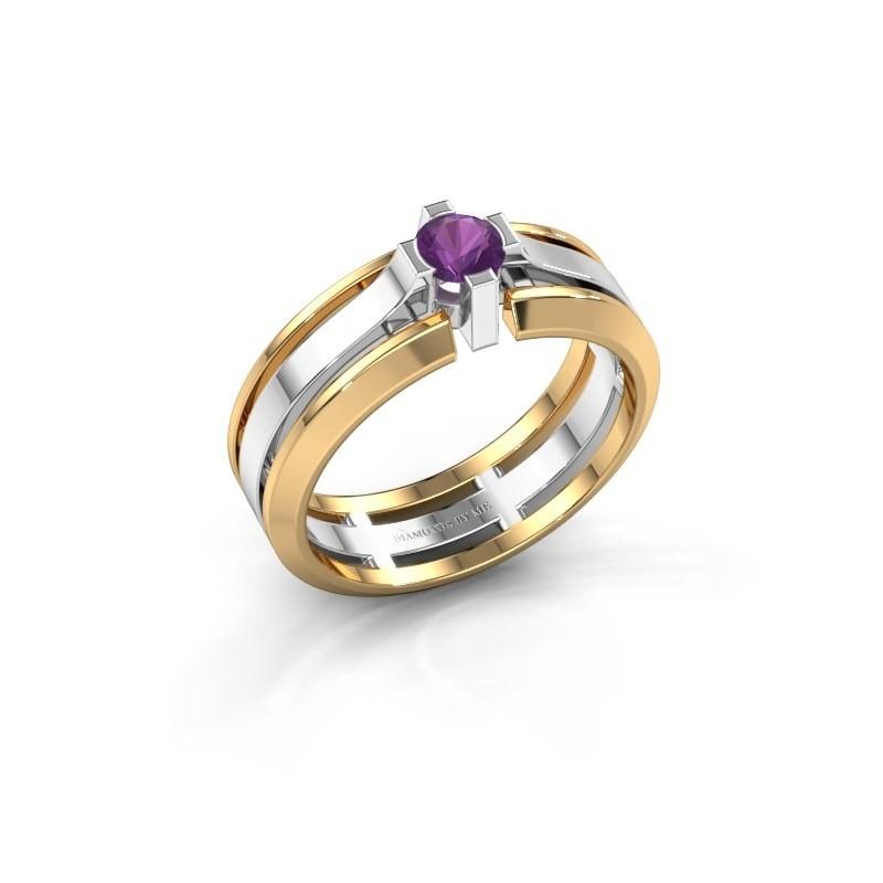 Heren ring Sem 585 witgoud amethist 4.7 mm