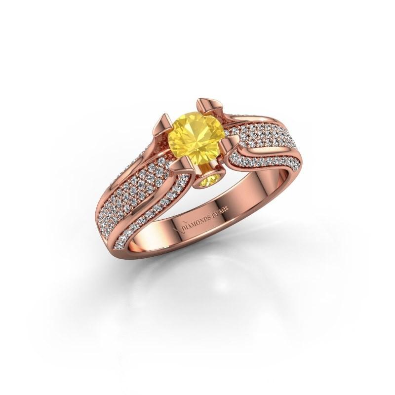 Verlovingsring Jeanne 2 375 rosé goud gele saffier 5 mm