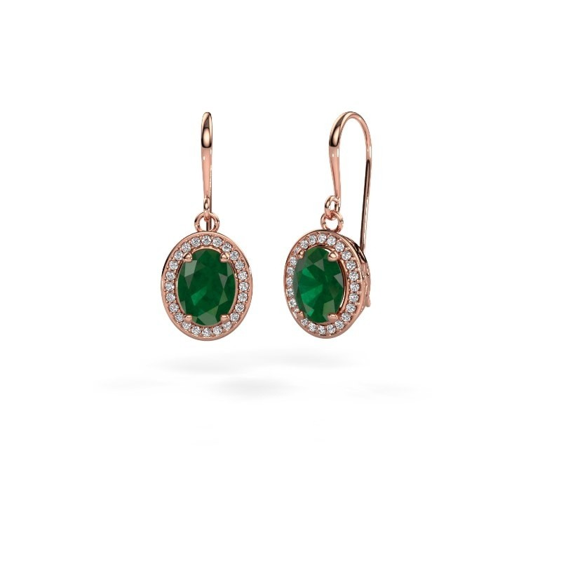 Drop earrings Latesha 375 rose gold emerald 8x6 mm