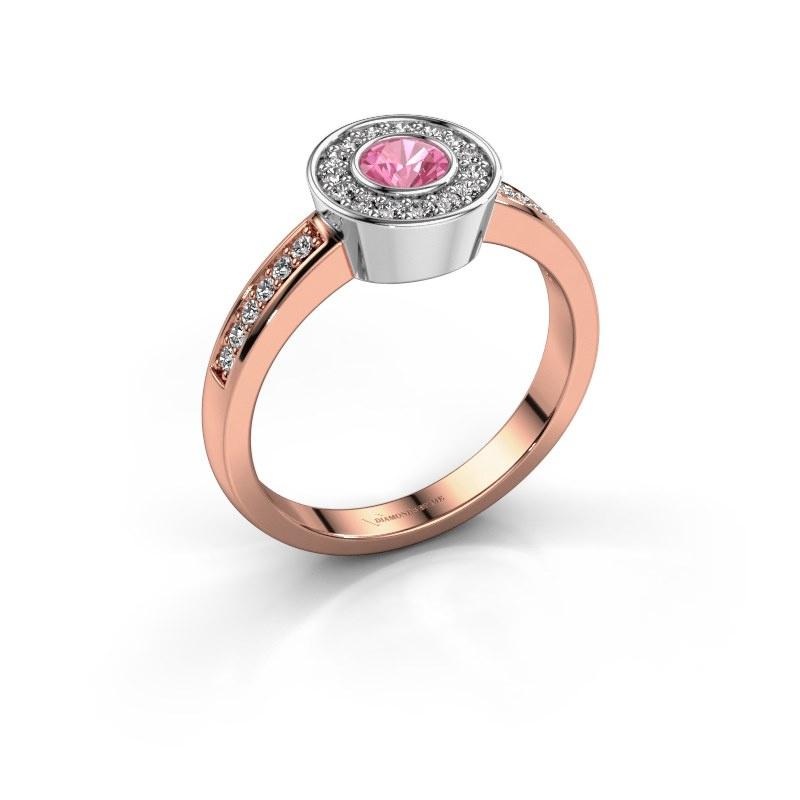 Ring Adriana 2 585 rosé goud roze saffier 4 mm