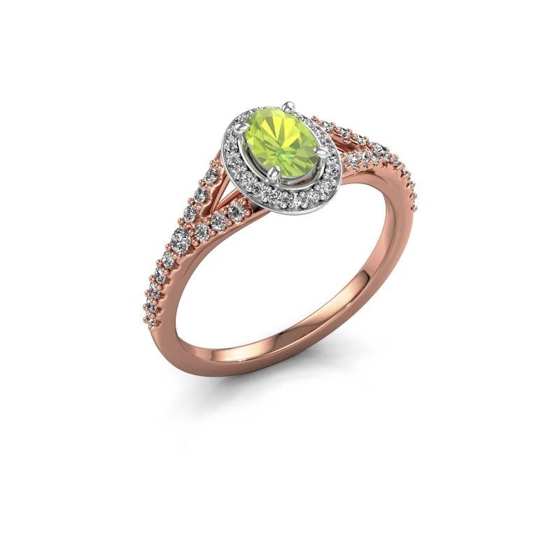 Belofte ring Pamela OVL 585 rosé goud peridoot 7x5 mm