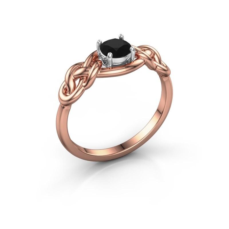 Ring Zoe 585 rosé goud zwarte diamant 0.60 crt