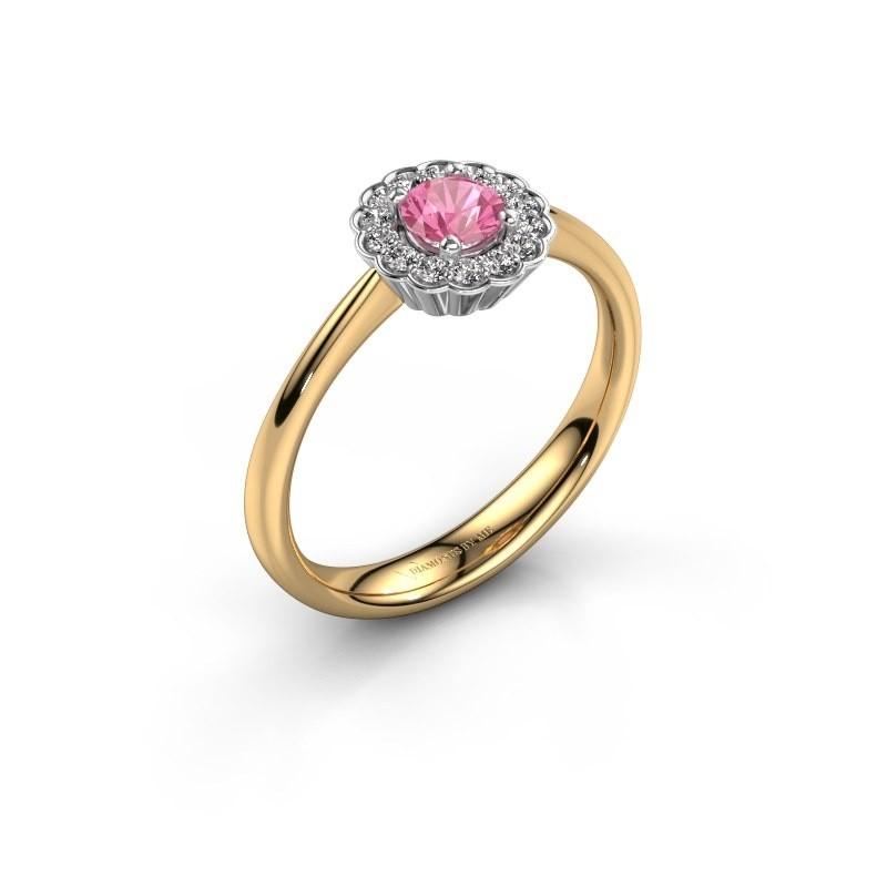 Verlovingsring Debi 585 goud roze saffier 4.2 mm