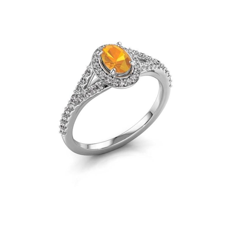 Belofte ring Pamela OVL 950 platina citrien 7x5 mm