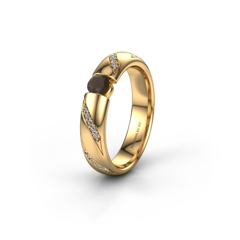 Trouwring WH2102L34A 375 goud rookkwarts ±4x1.7 mm