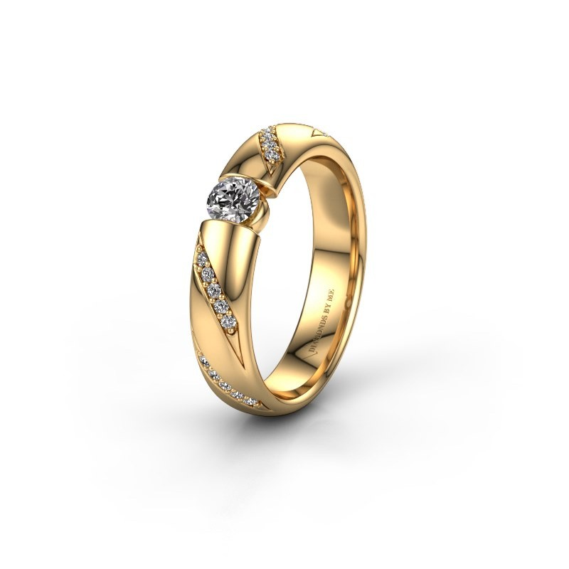Trouwring WH2102L34A 375 goud diamant ±5x1.7 mm