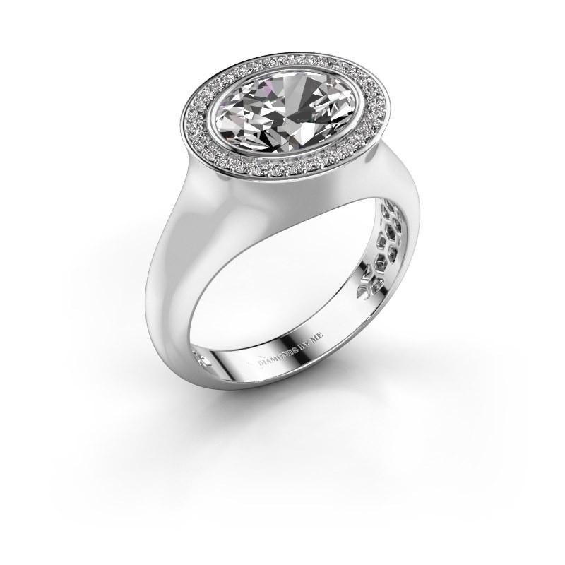 Ring Phebe 375 witgoud zirkonia 10x8 mm