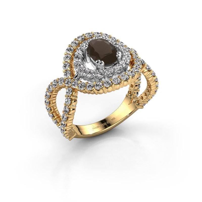 Ring Chau 585 goud rookkwarts 7x5 mm