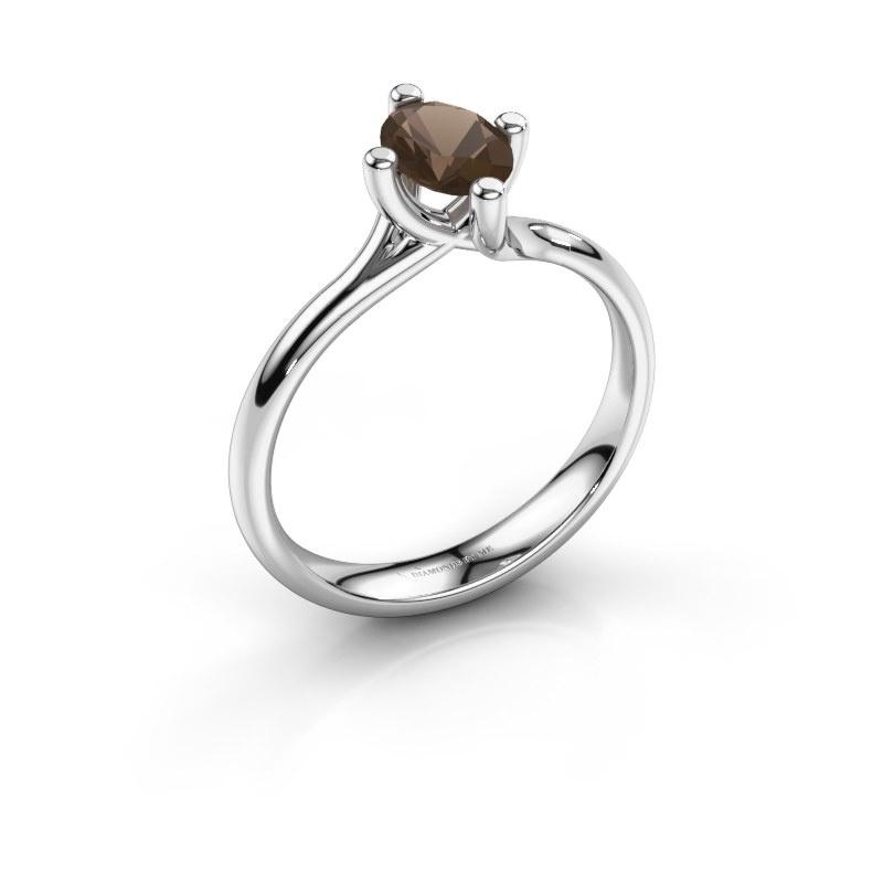 Engagement ring Dewi Oval 925 silver smokey quartz 7x5 mm