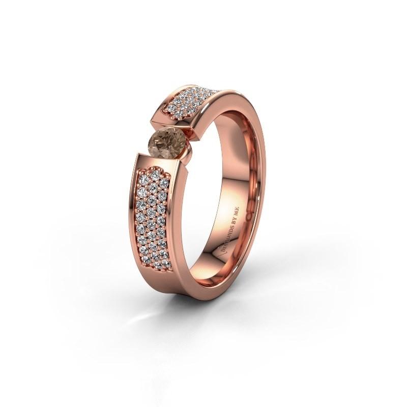 Trouwring WH2100L 375 rosé goud bruine diamant ±5x3 mm