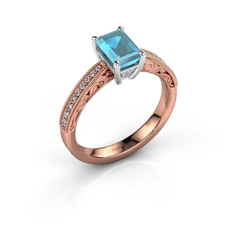 Verlovingsring Shonta EME 585 rosé goud blauw topaas 7x5 mm