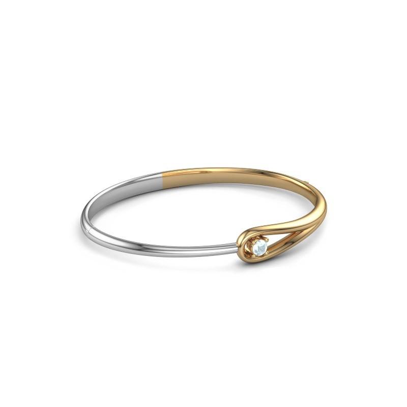 Slavenarmband Zara 585 goud aquamarijn 4 mm