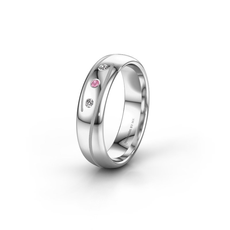Wedding ring WH0152L25A 585 white gold pink sapphire ±0.20x0.07 in