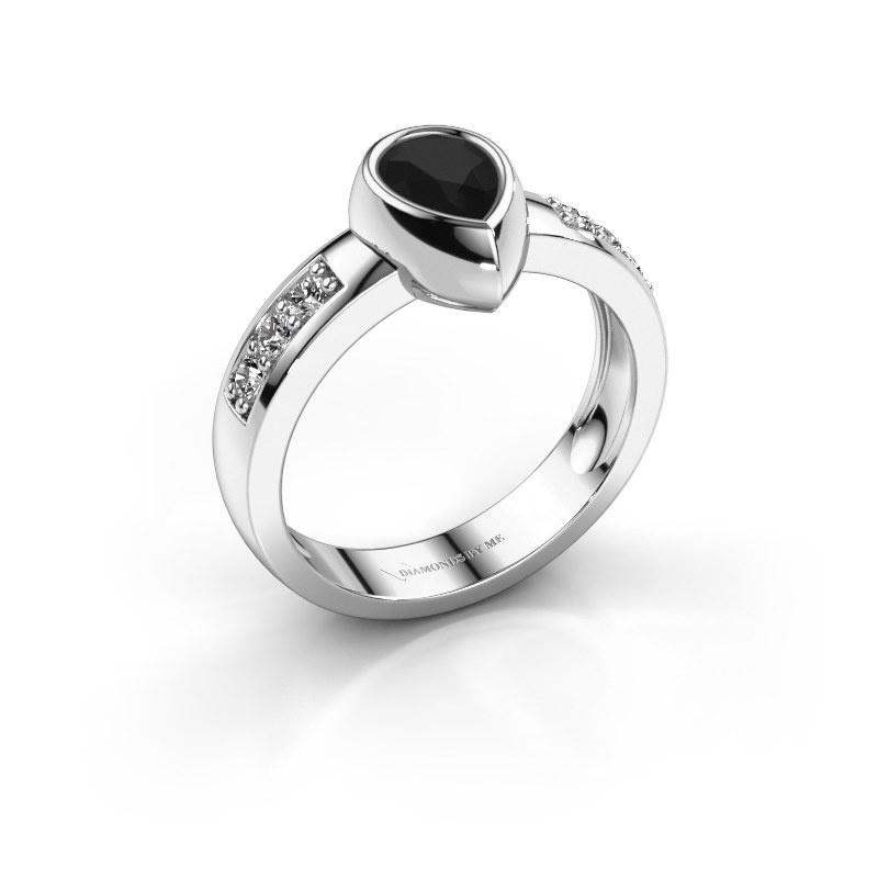 Ring Charlotte Pear 585 white gold black diamond 1.08 crt
