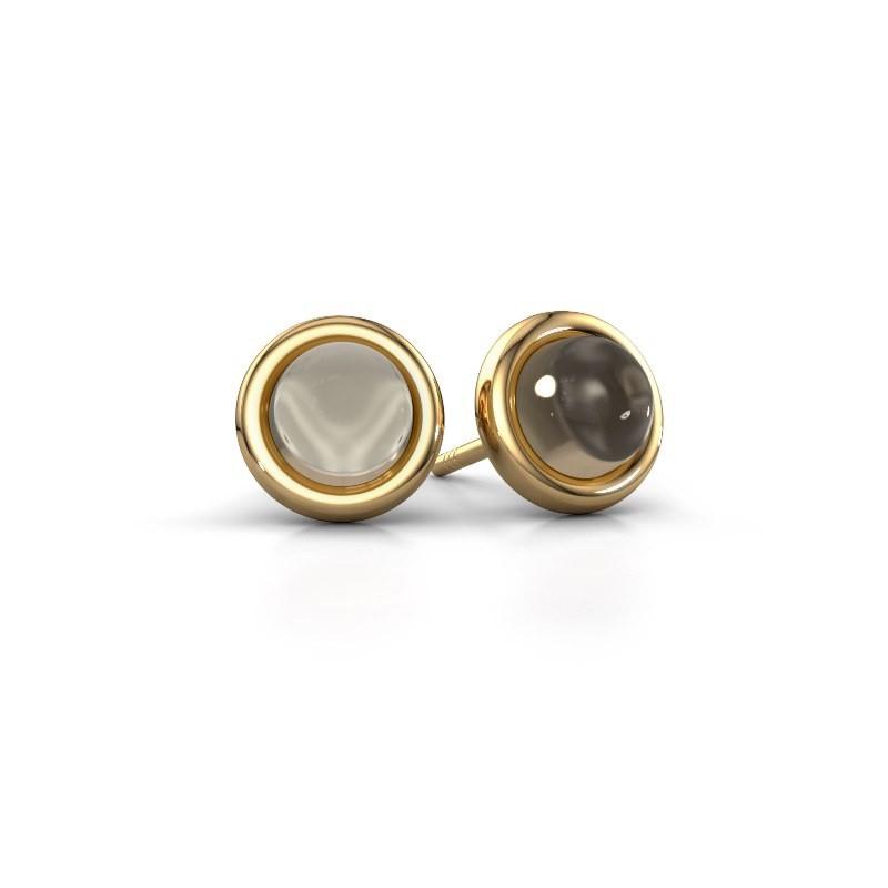 Oorstekers Jodi 585 goud rookkwarts 6 mm