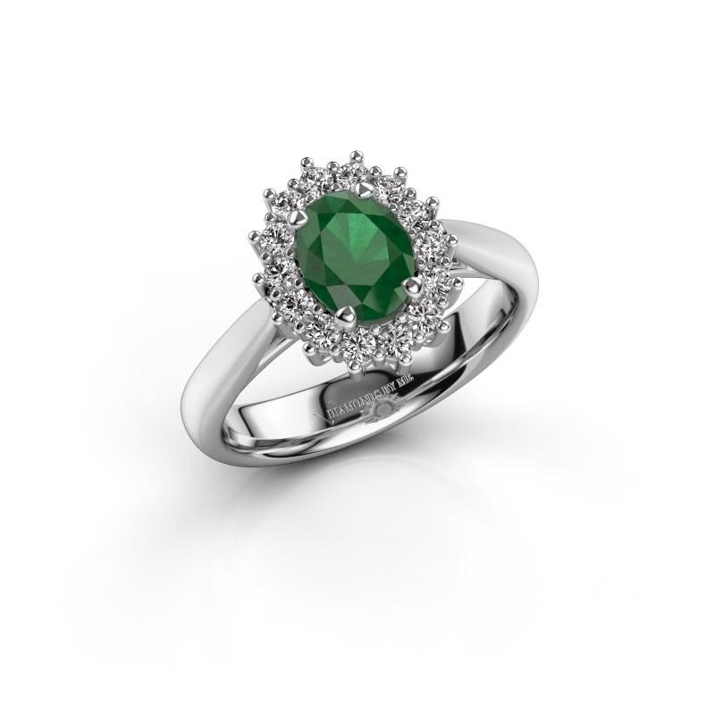 Verlovingsring Margien 1 925 zilver smaragd 7x5 mm
