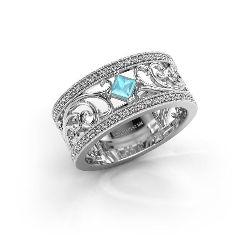 Ring Danae 585 witgoud blauw topaas 3 mm