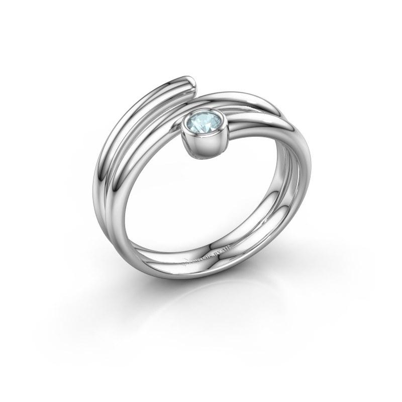 Ring Jenna 925 zilver aquamarijn 3 mm
