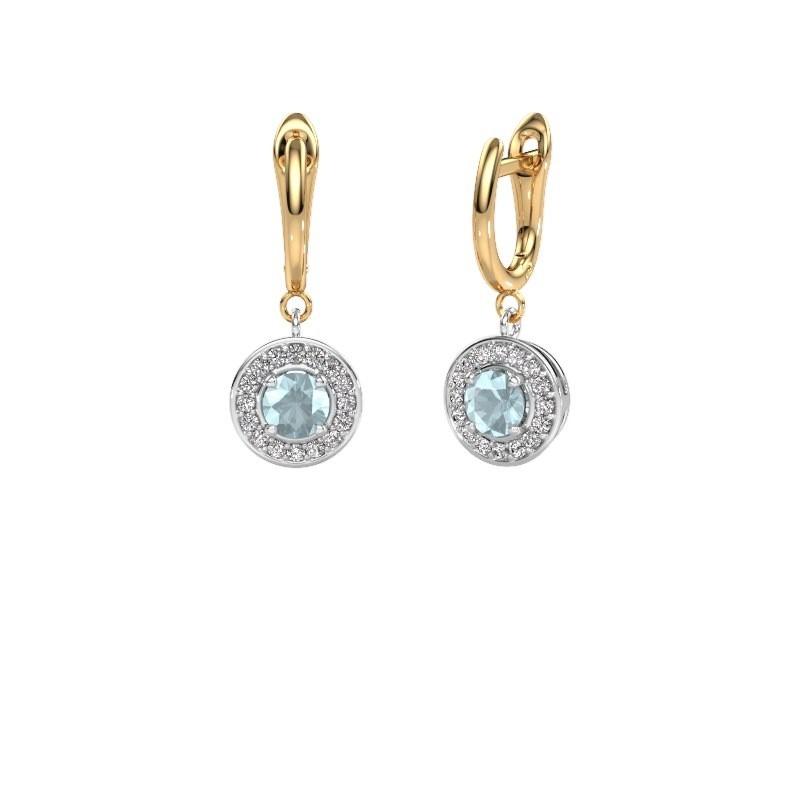 Drop earrings Ninette 1 585 white gold aquamarine 5 mm