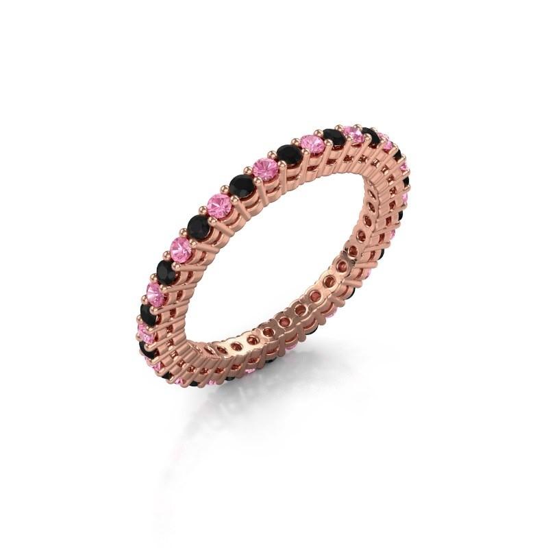 Aanschuifring Rufina 2 375 rosé goud roze saffier 1.7 mm