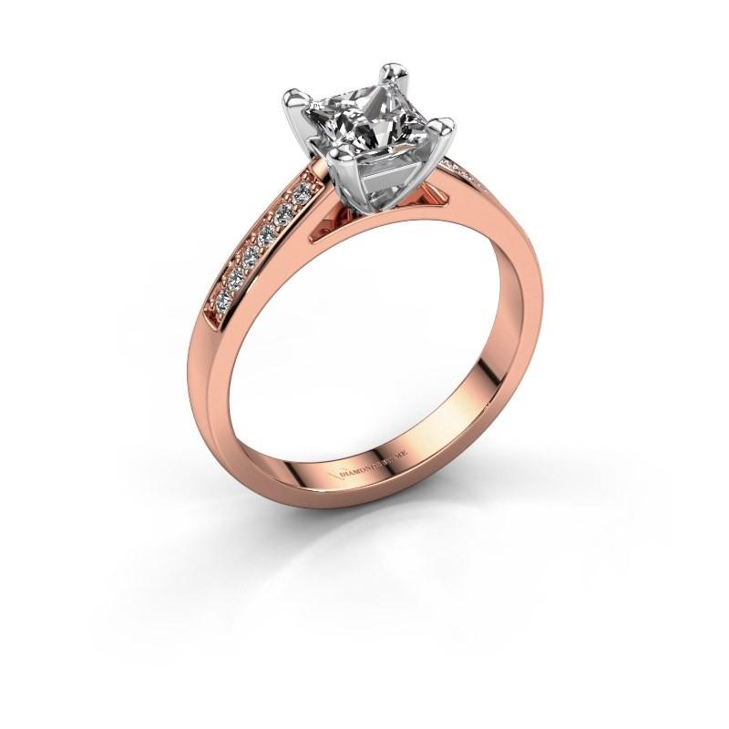 Engagement ring Nynke SQR 585 rose gold diamond 0.56 crt