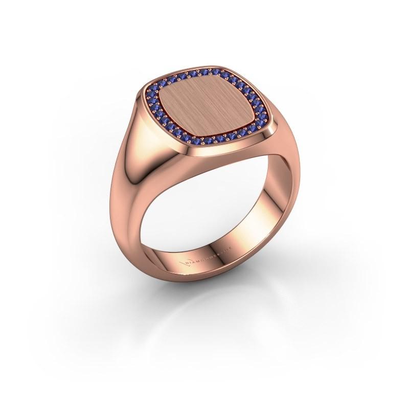 Men's ring Floris Cushion 3 375 rose gold sapphire 1.2 mm