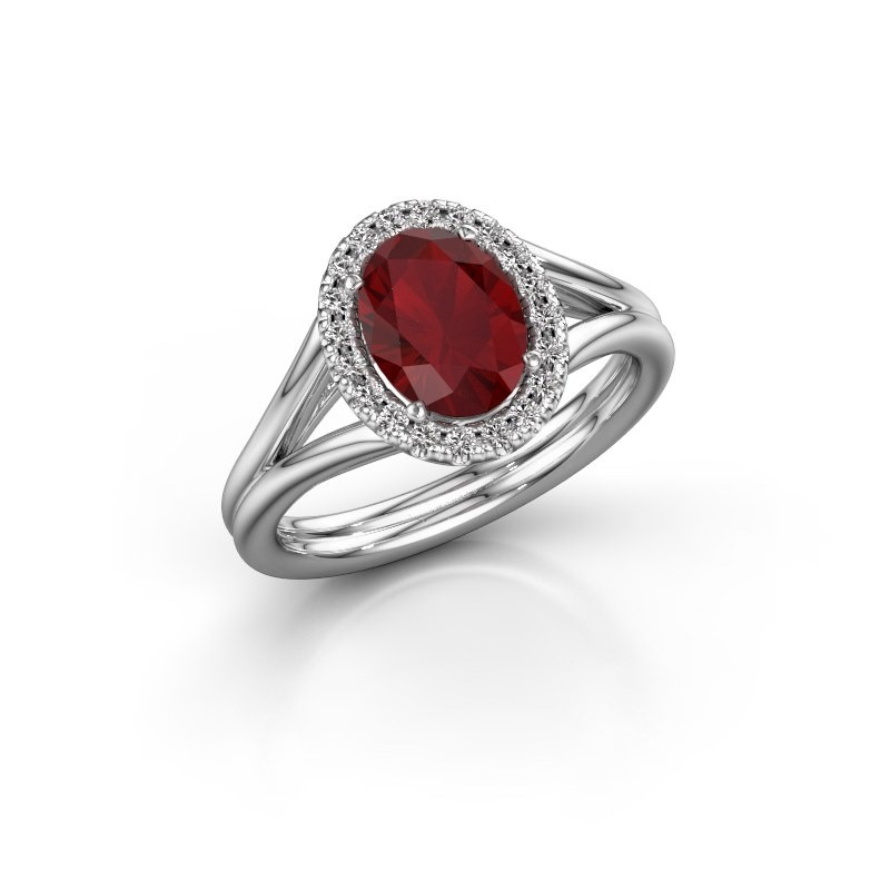 Engagement ring Rachele 1 585 white gold ruby 8x6 mm