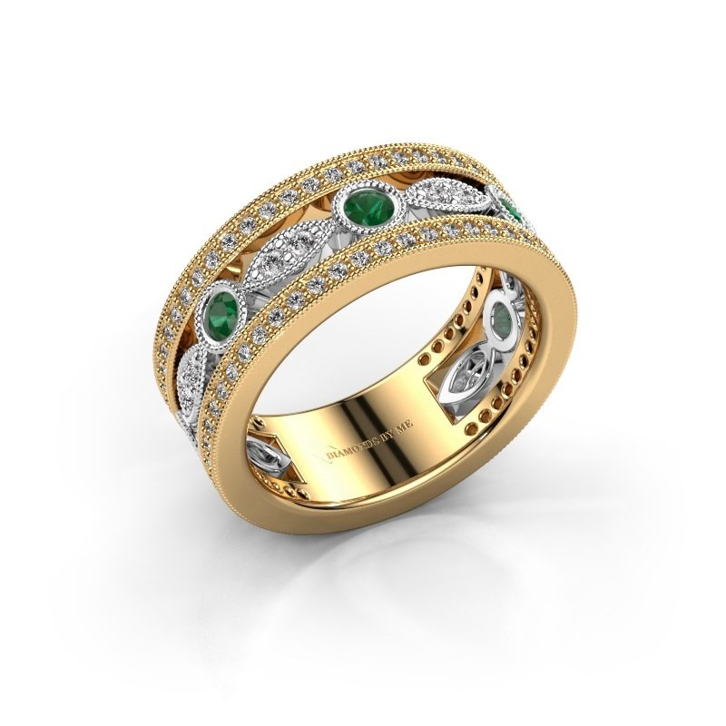 Ring Jessica 585 goud smaragd 2.5 mm