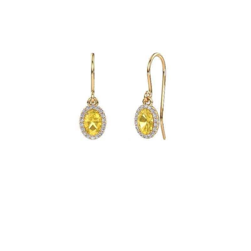 Oorhangers Seline ovl 375 goud gele saffier 6x4 mm