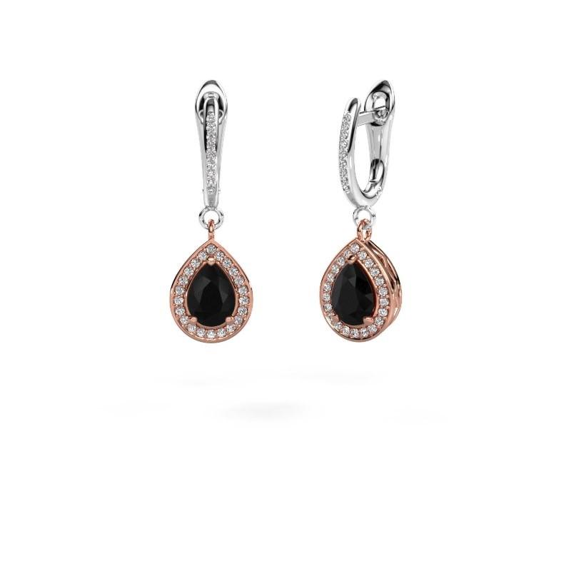 Oorhangers Ginger 2 585 rosé goud zwarte diamant 1.715 crt