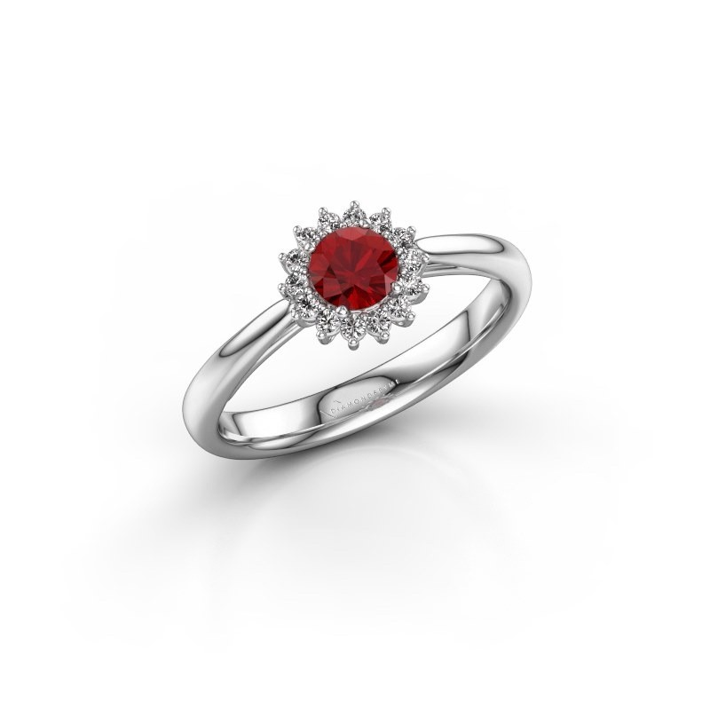 Engagement ring Tilly RND 1 585 white gold ruby 4.2 mm