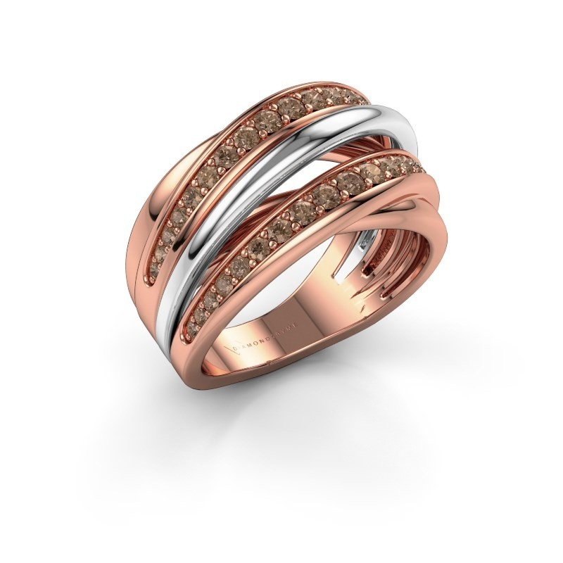 Ring Marylouise 2 585 rosé goud bruine diamant 0.618 crt