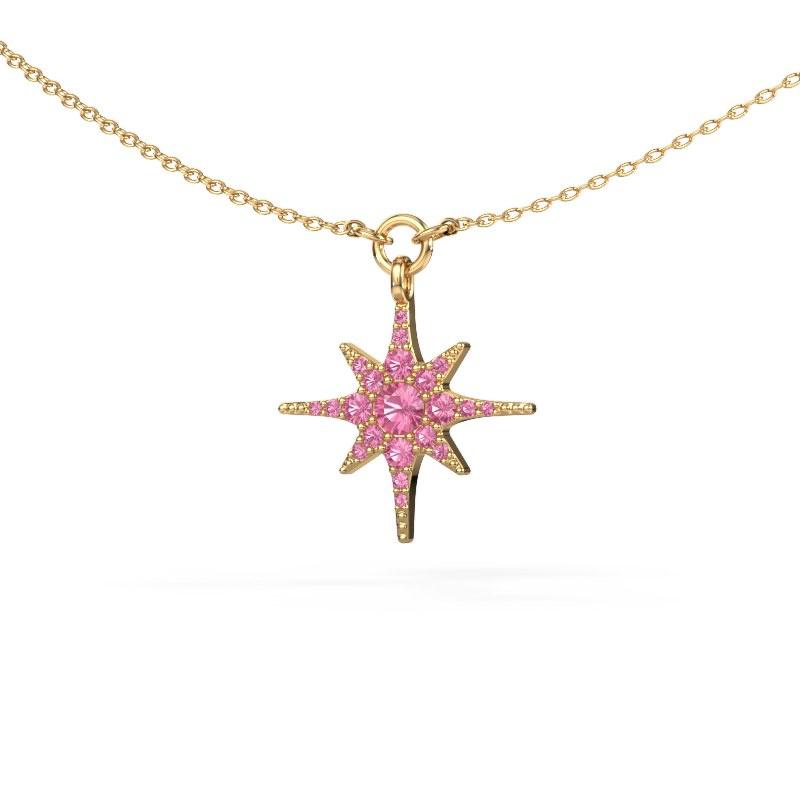 Halsketting Star 585 goud roze saffier 3 mm