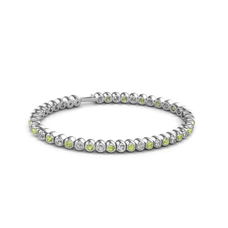 Tennisarmband Asley 585 witgoud peridoot 3 mm