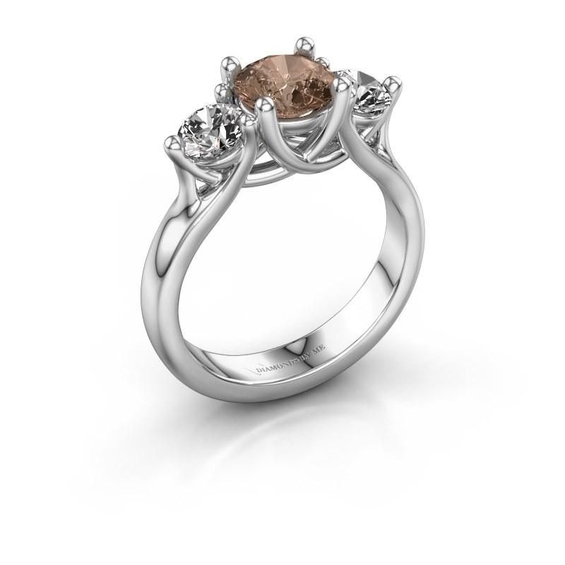 Engagement ring Esila 925 silver brown diamond 1.70 crt