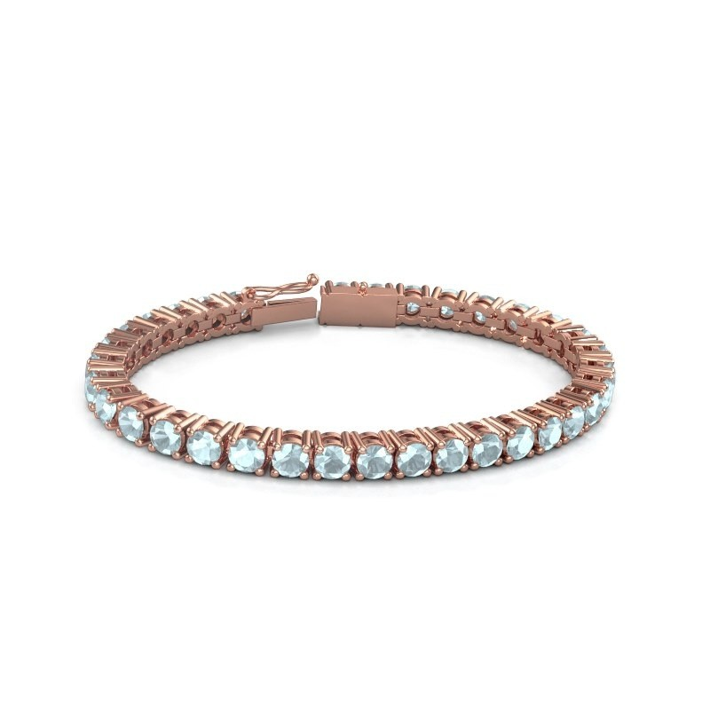 Tennisarmband Ming 375 rosé goud aquamarijn 5 mm