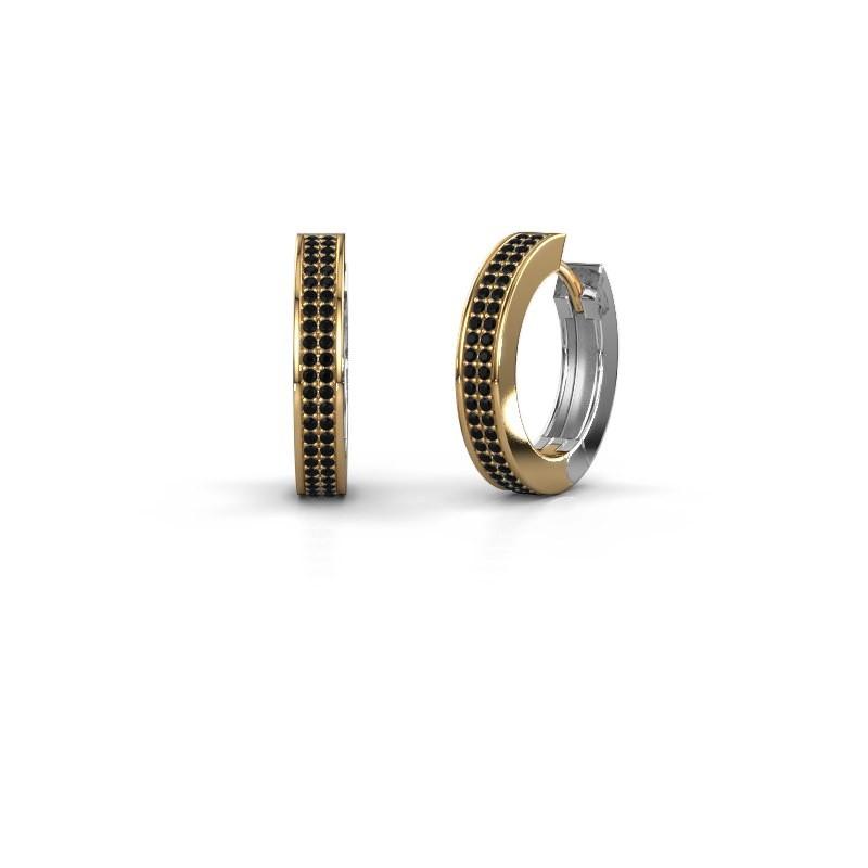 Creolen Renee 5 12 mm 585 goud zwarte diamant 0.936 crt