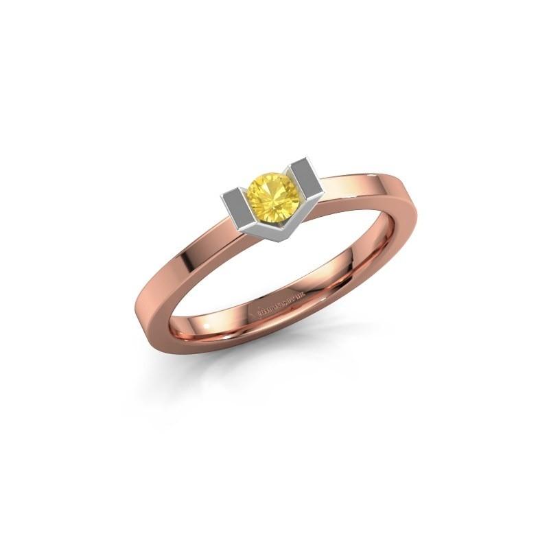 Aanzoeksring Sherley 1 585 rosé goud gele saffier 3.4 mm
