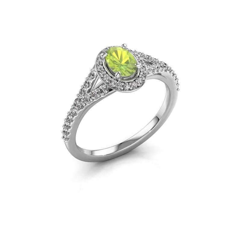 Engagement ring Pamela OVL 950 platinum peridot 7x5 mm