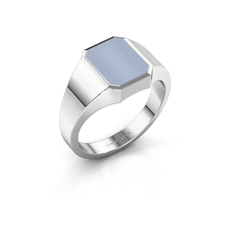 Signet ring Glenn 1 375 white gold light blue sardonyx 10x8 mm