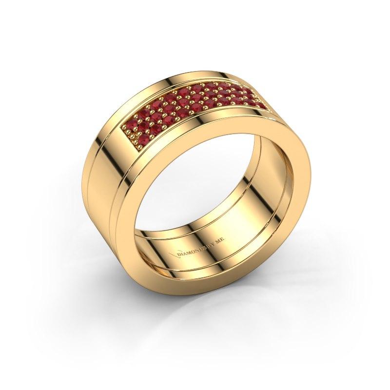 Ring Marita 3 585 goud robijn 1.3 mm
