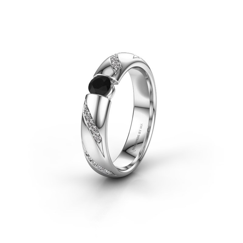 Trouwring WH2102L34A 585 witgoud zwarte diamant ±4x1.7 mm