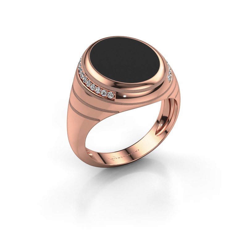 Signet ring Luuk 375 rose gold black enamel 15x12 mm
