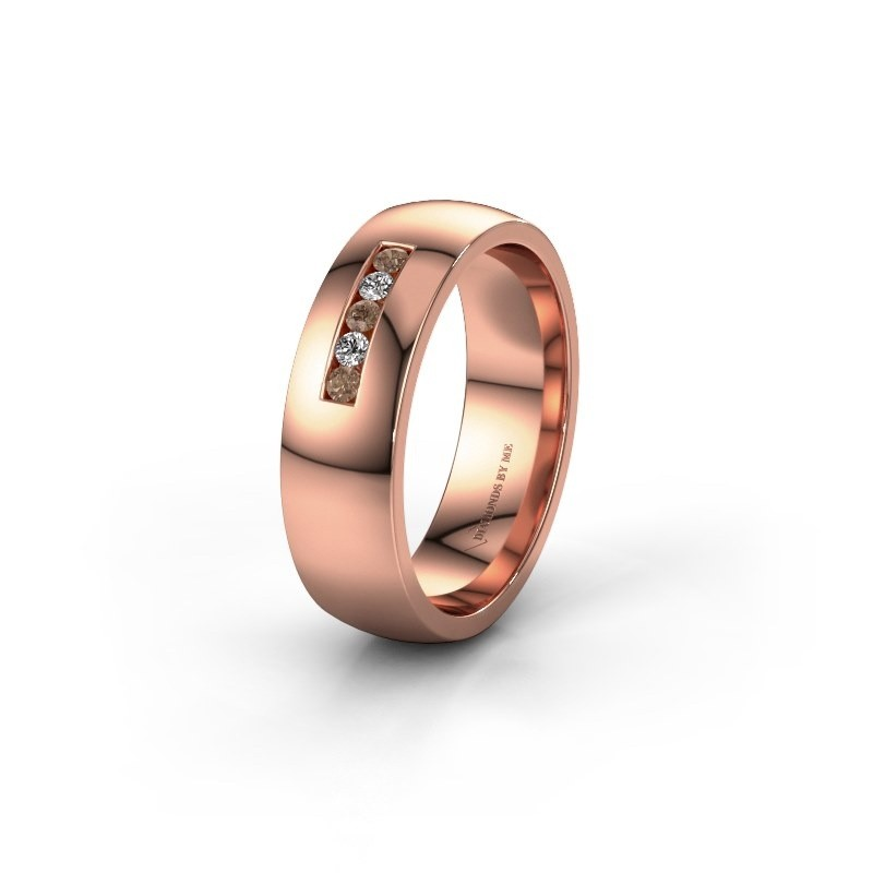 Wedding ring WH0107L26BP 375 rose gold brown diamond ±6x2 mm