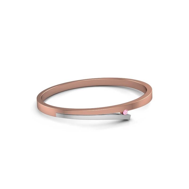 Slavenarmband Rosario 585 rosé goud roze saffier 3 mm