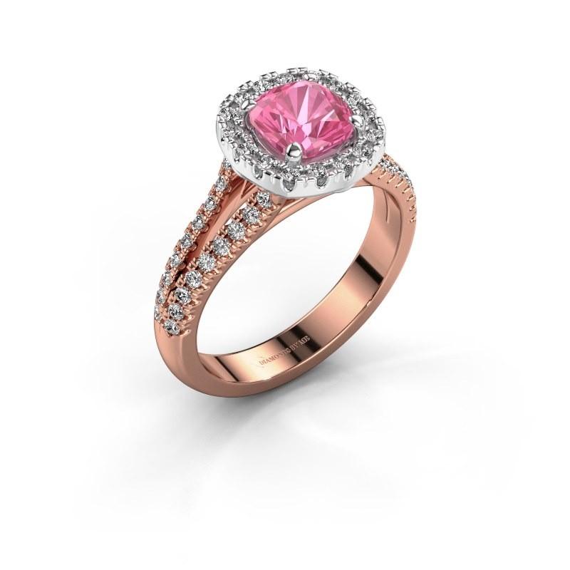 Verlovingsring Francesca 585 rosé goud roze saffier 6 mm